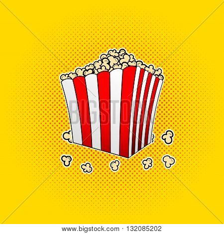 Vector popcorn box in pop art style. Vector paper bag full of popcorn. Popcorn in box on comic background in pop art style.