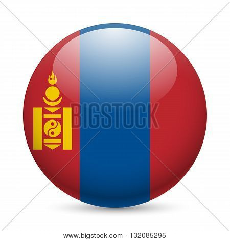 Flag of Mongolia as round glossy icon. Button with Mongolian flag