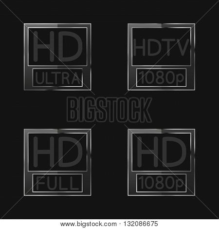 High-definition video signs on black background first set vector illustration.