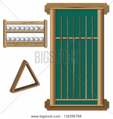 A set of inventory items for billiard balls shelf stand with a set of various wooden cues a triangle for the pyramid vector illustration.