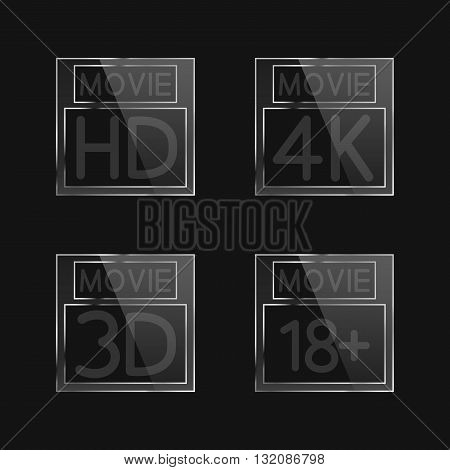 High-definition video signs on black background second set vector illustration.