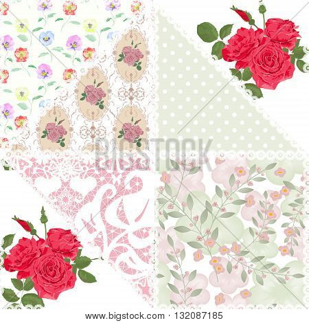 Patchwork floral roses pattern pastel light print with decorative elements