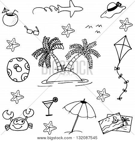 Doodle of beach vector art black and white