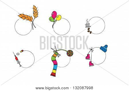 Vector isolated set of different quote text template. Medicine rye knitting coffee balloons skates and cap icon on the white background.