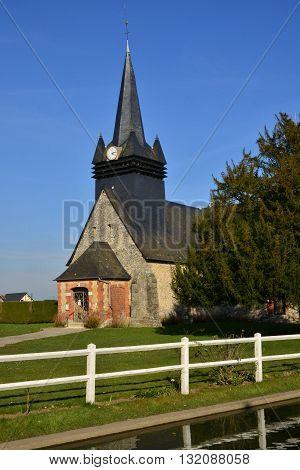 Fleury la Foret France - march 15 2016 : the picturesque church