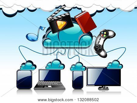 Cartoon blue cloud technology with four gadgets