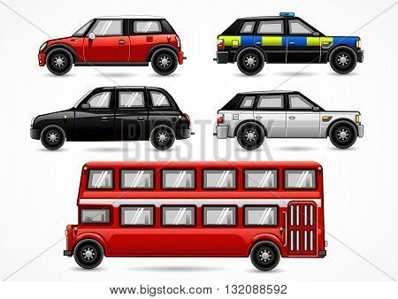 Collection of five england vehicles on white background