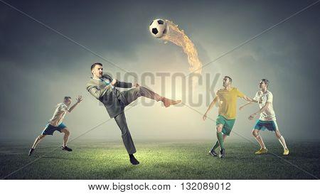 Businessman play ball