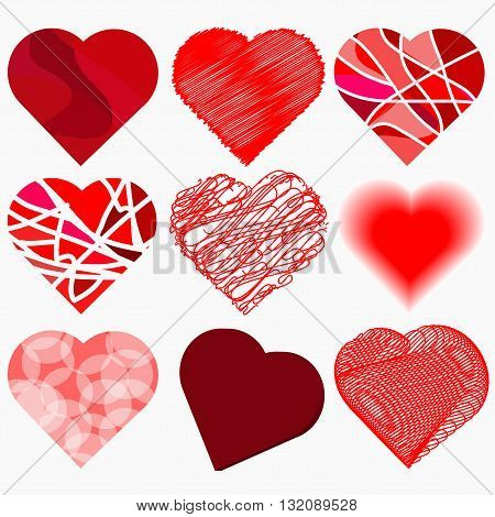 Set abstract hearts in ethnic and cartoon style for declarations of love a gift for a loved one or a donation for the holiday or other