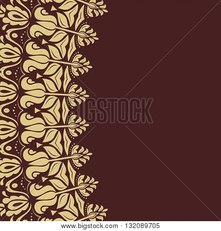 Oriental golden frame with arabesques and floral elements. Fine greeting card