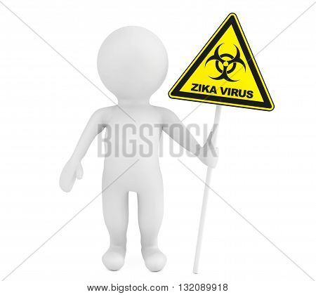 3d Person with Zika biohazard sign on a white background. 3d Rendering