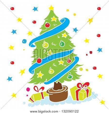 christmas tree cartoon illustration