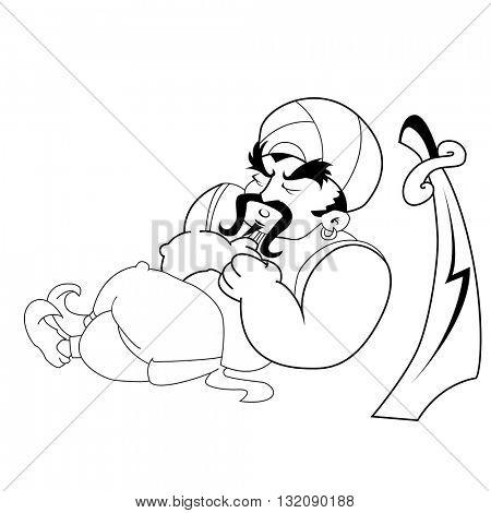 black and white janissary warrior sleeping cartoon