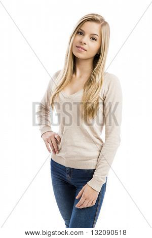 Portrait of a beautiful teenage girl, isolated in white background