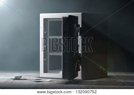 Steel Bank Safe in the volumetric light on a black background. 3d Rendering