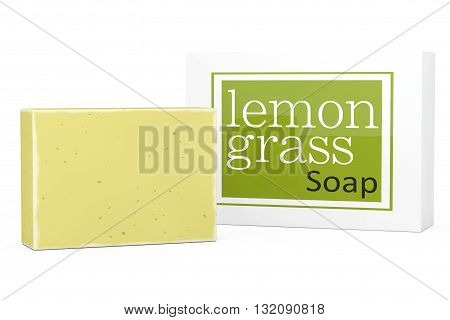 Bar of Lemongrass Soap with Soapbox on a white background. 3d Rendering