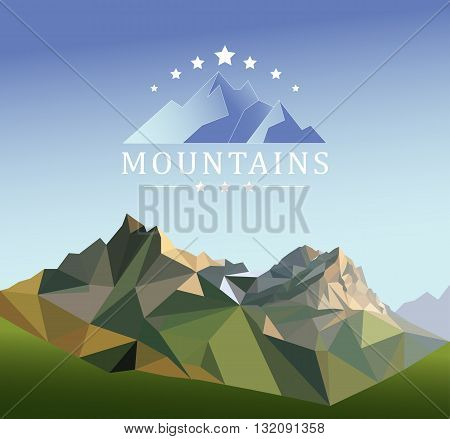 mountain low-poly style illustration mountain low-poly style illustration Flat design modern vector illustration concept with copy space on the mountain peak