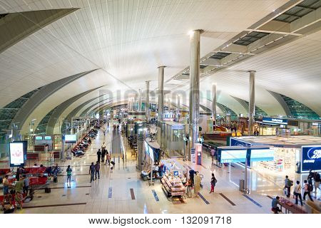 DUBAI, UAE - CIRCA APRIL, 2016: inside of Dubai International Airport. Dubai International Airport is the primary airport serving Dubai, United Arab Emirates