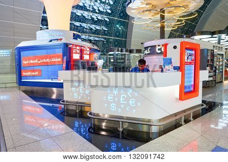 DUBAI, UAE - APRIL 08, 2016: inside of Dubai International Airport. Dubai International Airport is the primary airport serving Dubai, United Arab Emirates