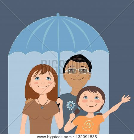 Cute cartoon family under an umbrella, metaphor for insurance coverage, vector illustration