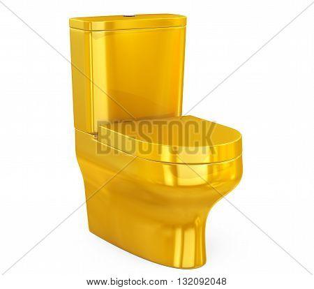 Golden Ceramic Toilet Bowl on a white background. 3d Rendering