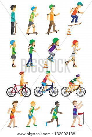 Sport people set of man and woman. Boys and girls roller skate and skateboarding and cycling flat design style. People run in the competition isolated on white background. Vector illustration