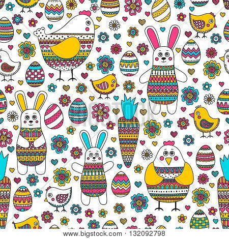 Easter pattern. Seamless easter pattern with doodle elements. Bunny eggs hen chicken carrot with hand drawn doodle ornament. Cute background for Easter design.