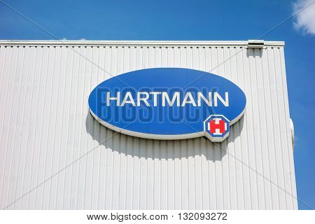 Heidenheim Germany - May 26 2016: Logo of Hartmann AG a german international operative company producing medical and care products.