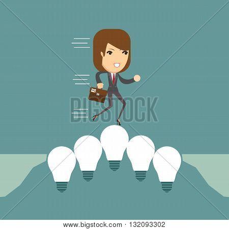 Women on the Lightbulbs Bridge. Vector illustration .