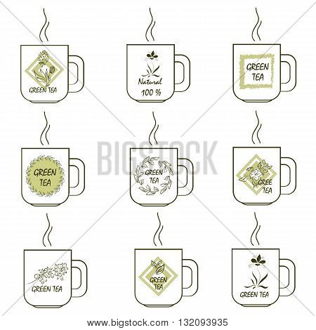 Set of stickers with the image of green tea mugs ecology healthy food vegetarian healthy food for your products advertising and design