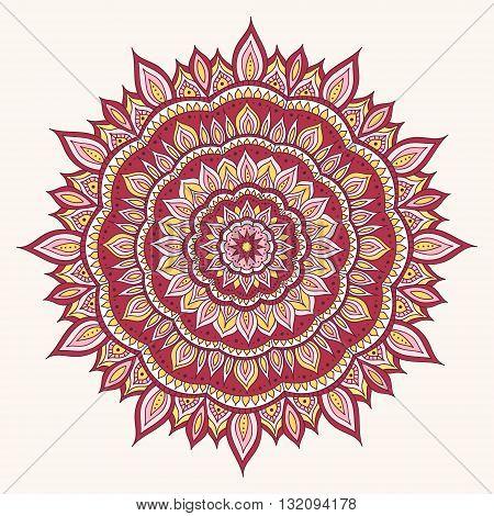 Hand drawn diwali mandala. Doodle mandala with fire ornament. Red pink white and yellow colors. Vector diwali mandala.