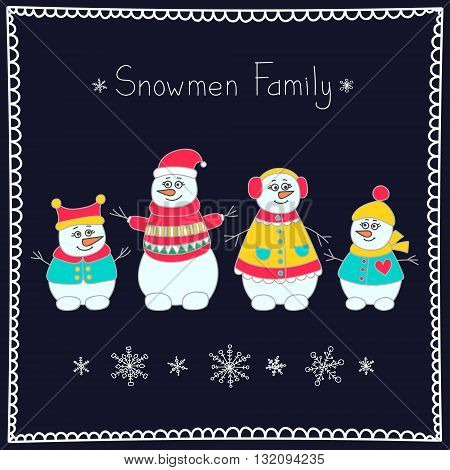 Snowman family. Hand drawn doodle set of snowmen. Bright winter elements for kids design. Vector. Isolated.