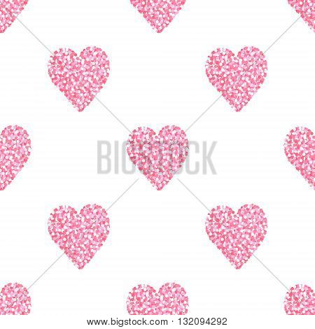 Heart of dots. Seamless vector pattern with hearts. Colorful background for St. Valentine's Day. Pastel colors.