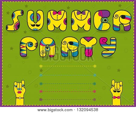 Inscription Summer Party. Funny invitation. Yellow Letters with bright decor and ties. Cartoon hands looking at each other. illustration.