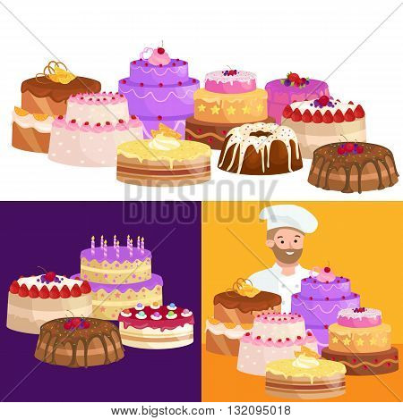 Confectioner cartoon character with cake. Vector illustration. Catering mascot, identity character. Pastry-cook.
