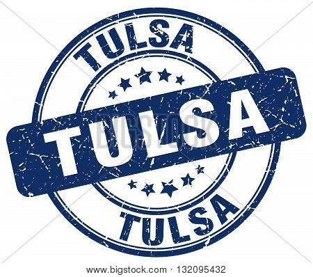 Tulsa blue grunge round vintage rubber stamp.Tulsa stamp.Tulsa round stamp.Tulsa grunge stamp.Tulsa.Tulsa vintage stamp.