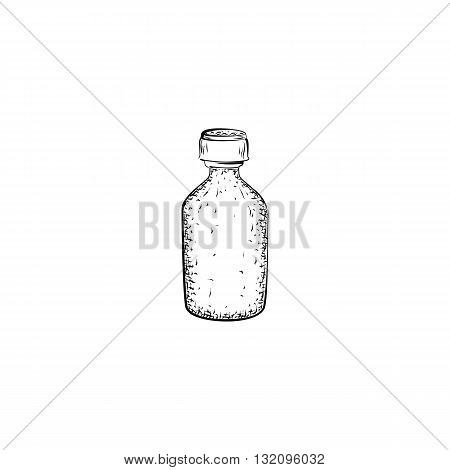 Hand drawn bottle. Container for mixture or product for care and hygiene. Detailed sketch of tincture isolated on white background. Black and white pencil or ink drawing