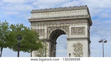 Arc de Triumphe monument popular tourist destination Paris with blue cloudy sky