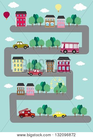 vector city. cars on the road