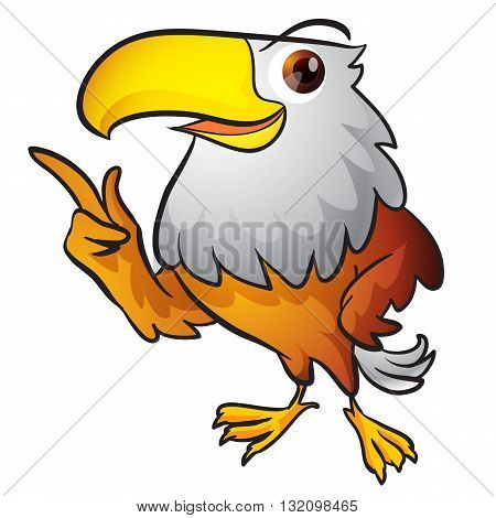 Cute Eagle Smart Mascot pointing and presenting