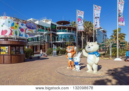 Sochi, Russia - February 9, 2016: Sculptural composition - The three mascots of the Winter 2014 in a Sochi, Navaginskaya street.