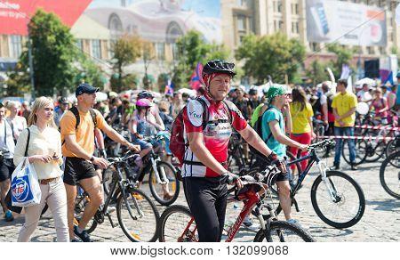 Kharkiv, Ukraine - May 29, 2016: annual city festival bike ride through the streets of Kharkov