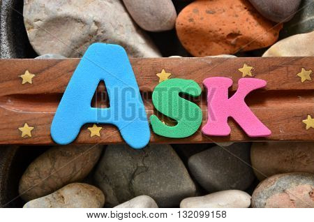 ask word on a abstract colorful  background