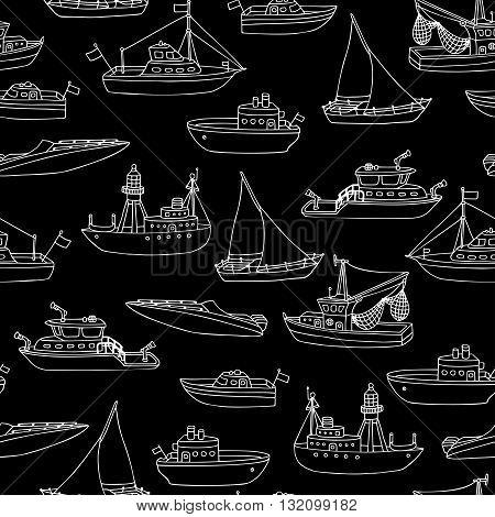 Chalk Seamless Marine Pattern.
