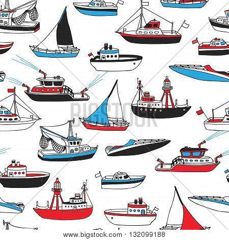 Vector Seamless Marine Pattern.