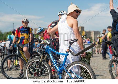 Kharkiv, Ukraine - May 29, 2016: annual city festival bike ride in funny fancy dress through the streets of Kharkov