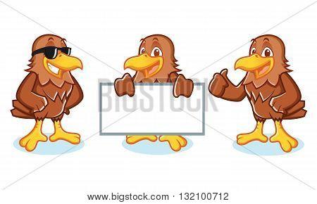Hawk Mascot Vector happy pose and bring board