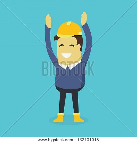 Businesman show holds hands up. Young successful investor man in helmet do business hand gesture shows good job. Approval of praise and agreement. Vector illustration