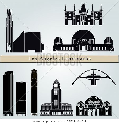 Los Angeles landmarks and monuments isolated on blue background in editable vector file