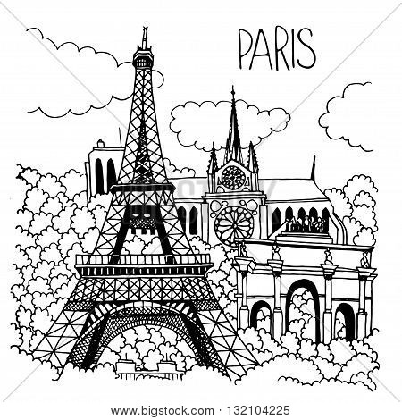 Hand drawn illustration of Paris landmarks. Eiffel Tower, Notre Dame Cathedral, Arc de Triomphe du Carrousel. Simple sketch style. Black contour isolated on white background. Vector illustration.